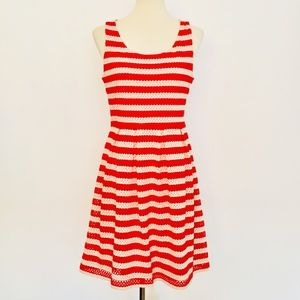 ELLE Eyelet Lace Striped Coral + Tan Tank Dress